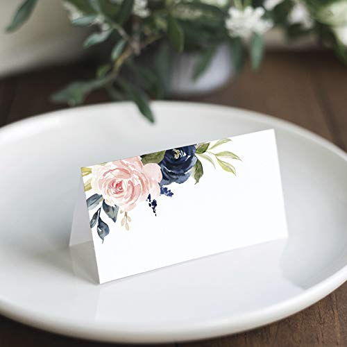 Bliss Collections Navy Floral Place Cards for Wedding or Party, Seating Place Cards for Tables, Scored for Easy Folding, Flower Design 50 Pack, 2 x 3.5 Inches