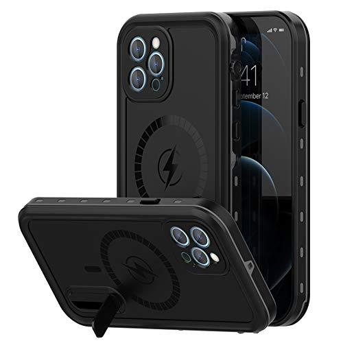 Funda para iPhone12/12 Pro/12 Pro MAX, IP68 Certificado Sumergible Carcasa, 360 Grados Protección [Antigolpes][Anti-rasguños] con Protector de Pantalla Incorporado,P-1,Black,iPhone12Pro