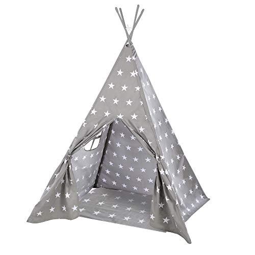 roba 460230V190, tente de jeu 'Tente Indienne Tipi étoiles', tente de jeu pour enfants avec fond en tissu et poche de rangement, tente indienne, multicolore.