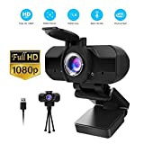 1080P Webcam with Microphone and Privacy Cover, 1080P HD USB Web Camera