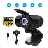 Webcam 1080P Full HD con Micrófono Y cubierta de privacidad,1080P webcame USB Web Camera Con trípode, para Portátil Videollamadas, Conferencias, Juegos, Plug y Play, Cámara web HD de enfoque fijo