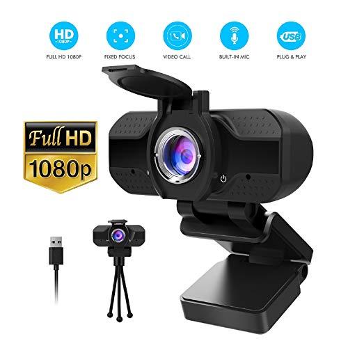 Webcam 1080P avec Microphone et couvercle de confidentialité, caméra Web USB PC Full HD 1080P avec trépied, pour Appels Vidéo, Études, Conférences, Jouer et brancher, webcam HD à mise au point fixe