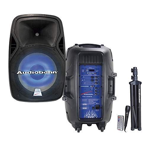 Audiobahn Bafle Amplificado de 15″ con entradas MP3/USB/SD/FM, Entrada para micrófono y Guitarra,…