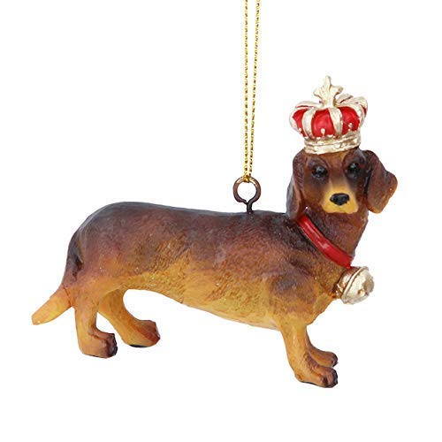 Gisela Graham Resin Daxie Dachshund with Crown Hanging Christmas Tree Decoration Ornament Bauble