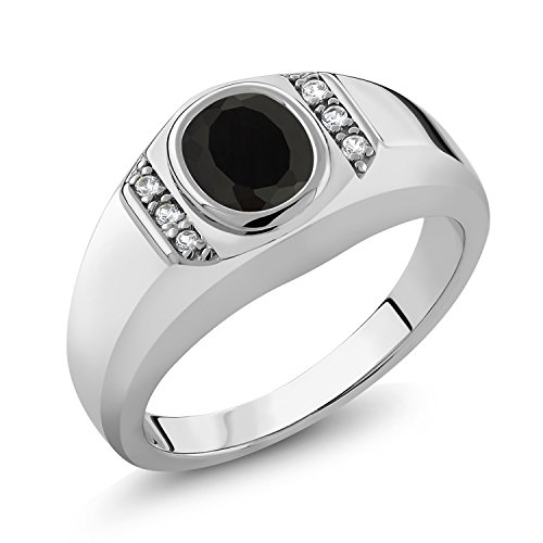Gem Stone King 1.31 Ct Oval Black Onyx White Created Sapphire 925 Sterling Silver Men's Ring (Size 10)