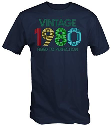 6TN Hombre Vintage 1980 Envejecido a la Camiseta de la perfección (L, Azul Marino)