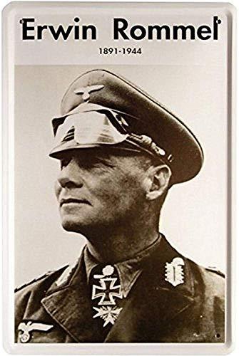 KELLEN WHITEHEAD Wehrmacht Erwin Rommel Portrait Grey Lustiges Wandzeichenmetall kunstbrett-Dekorationsplakat