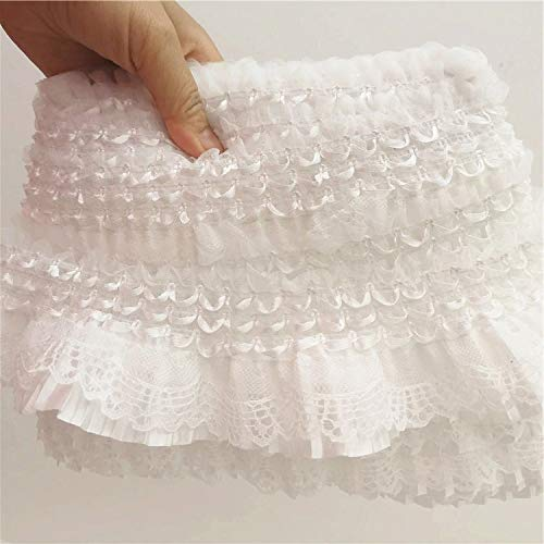 Worlds 1Yard White Lace Embroidery Ribbon Elastic Ruffle Trim Ribbon for Clothing Sewing Skirt DIY Craft 2-3/4'Inch Wide