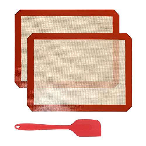 WANWE 2 Alfombrillas de Silicona para Hornear de 40 X 30 Cm y 1 EspáTula de Silicona, Bandeja para Hornear de Alfombrilla Resistente Al Calor de Pasta Antiadherente