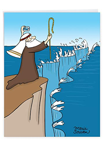 Funny 'Large Moses Selfie' Happy Birthday Note Card with Envelope (Supersized 8.5 x 11 Inch) - Funny Moses Taking A Selfie While Splitting The Sea - HBD Appreciation Stationery Gift J9668