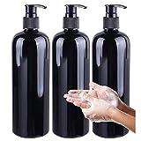 Flaconi Vuoti da 500 ml Flaconi Dosatori in Plastica Dispenser per Sapone Flaconi vuoti plastica Bottiglie Vuote per Lozione Con Pompa Nera per L'erogazione di Gel Doccia (3 pezzi)