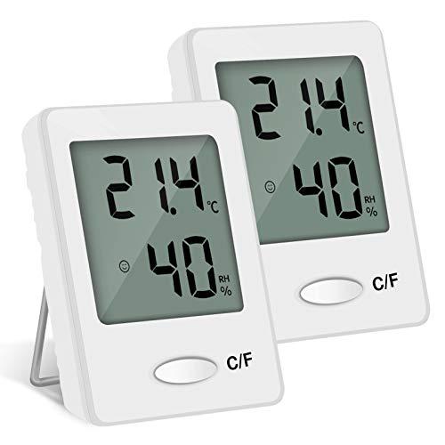 PAIRIER 2PCS LCD Thermomètre Hygromètre Interieur Numérique Température Humidité de Haute Précision Portable (blanc)