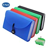 Expanding File Folders 4 Pack, SEEKIND 7.1'4.2' Receipt Organizer Folder Accordion Folder Document with 13 Pocket for Office,Cards,Tickets-Water Resistant