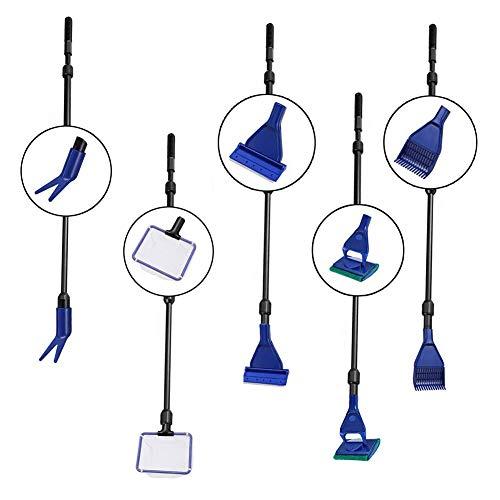 SUNSK Aquarium Reinigung Set 5 in 1 Aquarium Reinigung Werkzeug mit Algenschaber, Fischnetz, Schwamm, Rohrbürste, Kiesrechen