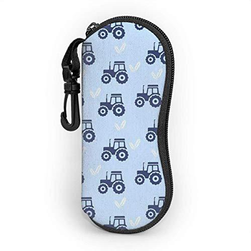 smile-life Brillenetui Traktor Weizenblau Ultraleichter, tragbarer Neopren-Reißverschluss Auch Brillenetui