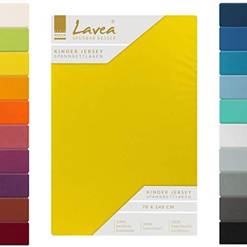 Lavea Kinder Jersey Spannbettlaken, Spannbetttuch, Serie Maya, 60x130cm | 70x140cm, Sonnengelb, 100% Baumwolle, hochwertige Verarbeitung, mit Gummizug