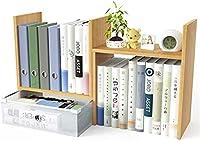 デスク上置棚スライド式 木製書棚 ストレージ本棚 卓上収納ケース組立不要 デスク収納ボックス 引出付き ナチュラル (B)