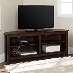 """Dimensions: 24"""" H x 58"""" L x 16"""" W Cable management features to run cords in the back of the TV stand Made from high-grade certified MDF for long-lasting construction Adjustable shelves For TV's up to 64"""". Supports up to 250 lbs."""