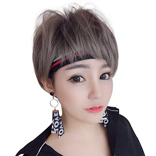 WANGZHI Nieuwe pruik vrouwelijke Koreaanse mode persoonlijkheid shit pony bobo hoofd korte haar realistische hoofddeksels Honing bruin 25CM