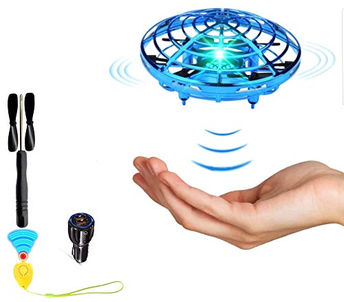 Museco Hand Operated Drone for Kids or Adults, Flying Mini Drone Toy - Hands Free Mini Drone, Easy Indoor Small UFO Flying Ball Drone Toys for Boys and Girls (Blue)
