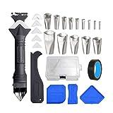 27 PCS Kit de herramientas de calafateo 6 en 1 Silicona Calafateo Herramientas de boquilla Aplicador Finisher Kit Sellant Finishing Set