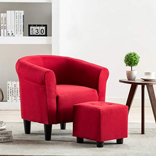 UnfadeMemory 2-TLG. Set Chesterfield-Sessel mit Hocker Stoffsessel Armsessel Fußhocker Stoff Relaxsessel Loungesessel Ergonomische Rückenlehne und Armlehnen (Weinrot)