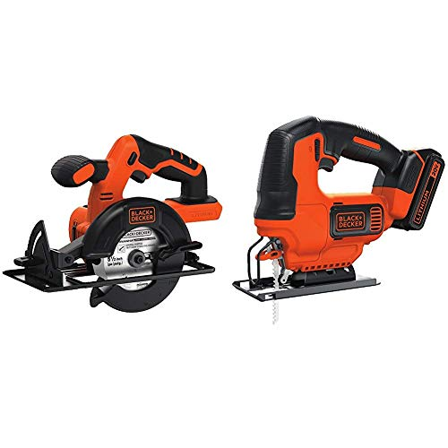 BLACK+DECKER BDCCS20B 20-volt Max Circular Saw Bare Tool, 5-1/2-Inch with BLACK+DECKER BDCJS20C 20V MAX JigSaw with Battery and Charger