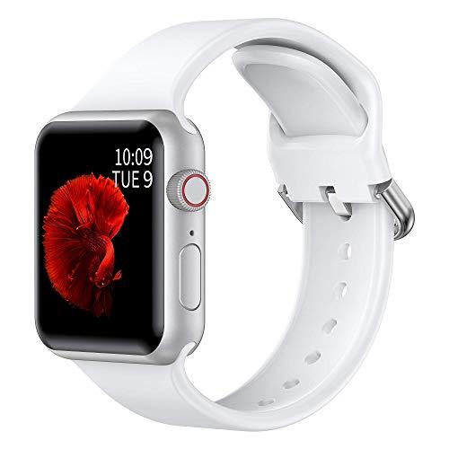 Glebo Pulseras deportivas compatibles con Apple Watch, 42 mm, 44 mm, para hombre y mujer, de silicona suave, para iWatch Series 6, 5, 4, 3, 2, 1, SE, blanco/pequeño