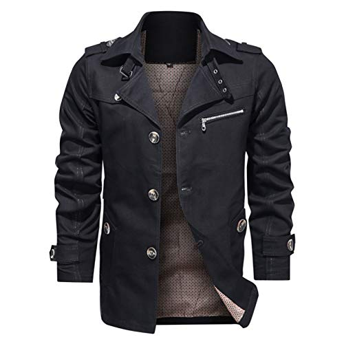 LMSDALAO Winterjacken Autumn Cotton Herren Selbstkultivierungsjacke Mantel Winter Winddichte Reversjacke Windbreaker Business Jacke
