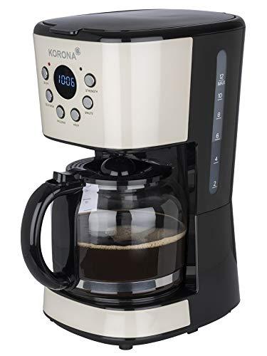 Korona 10666 Retro Kaffeeautomat | Crème | 1,5 Liter | Filterkaffeemaschine | LCD Display | Timer | inkl. Permanentfilter (Crème)