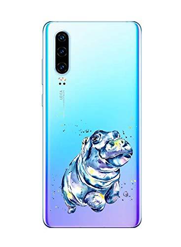 Suhctup Compatible con Huawei P8 Funda de TPU Silicona con Dibujos Lindo Animados Diseño Cárcasa Slim Transparente Suave Flexible Antigolpes Proteccion Bumper Caso,Hipopótamo