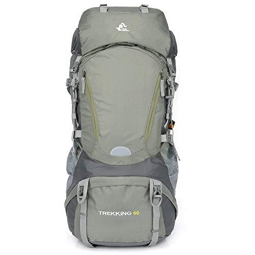 HLKODS Mochila de Senderismo, Mochila Escolar de Trekking con Funda Impermeable para Escalar, Acampar, Viajar, montañismo,Verde