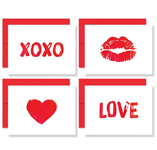 Little Love Notes: Set of 8 Premium Valentine's Day Blank Note Cards with Red Envelopes - 4 Unique Valentines With Brush Art Designs for Him or Her - Made in the USA By Palmer Street Press