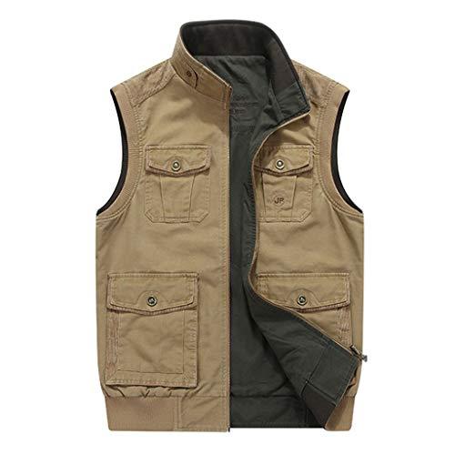 Mannen gewassen vest multi-Pocket Double-faced jas elastische manchet zoom duurzame ritssluiting outdoor fotografie vissen sightseeing vuil en slijtvast los maat (M-8XL) Medium A