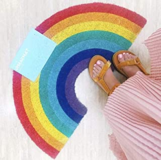 Hinsper Rainbow Door Mat Large Doormat, Indoor Waterproof, Easy Clean, Low-Profile Winter Mats for Entry and High Traffic Areas (41x75cm)