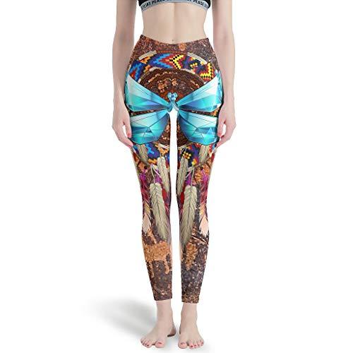 Relaxident Polainas Deportivas Nativo Dragonfly Dreamcatcher Azul Mujeres Ultra Suave Alto - Yoga Pantalón para Yoga Blanco 2xl