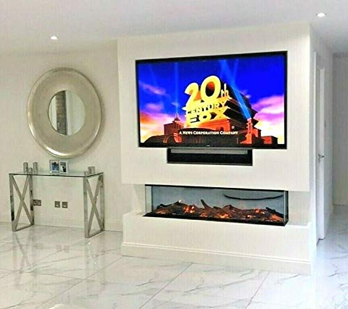 DIGITAL FLAMES DESIGNER Electric Fire Panoramic Modern 50 60 Inch LED PREMIUM BRANDED Black Metal Glass Electric Fire 3 SIDED FULL GLASS FISH TANK Remote Control 1500Kw New 10 Colour Flame Lights 2020