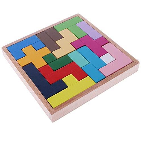 [TradeWind] スライドパズル 木製 ウッド 立体 3D テトリス ブロック パズル 積み木 キューブ 知育玩具 カラフル 老化防止 認知症 脳トレ