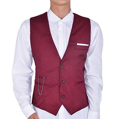 Hee Grand Homme Gilet Vest Casual d'Affaire FR48/50(CN XXL) Vin Rouge