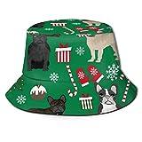 GMGMJ Blanco y negro, Navidad – Bulldog francés, perro negro, Navidad francesa, perro Navidad – mixto unisex sombrero verano viaje sol pescador sombreros