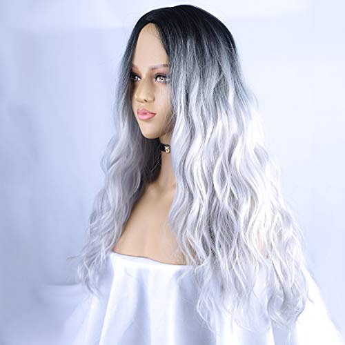 BLSWANER Ombre Silver Grey Wig Long Curly Wavy Middle Part Dark Roots Long Natural Wave Synthetic Hair Wigs For Women