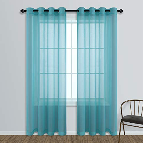 Teal Sheer Curtains 84 Inches Long Set of 2 Panels Window Sheer Curtain for Living Room Bedroom 52x84 Inch Length