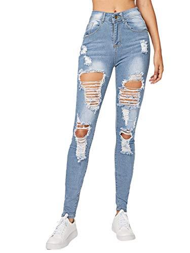 Milumia Women's Mid Waist Skinny Ripped Casual Denim Jeans Pants Light Blue Small