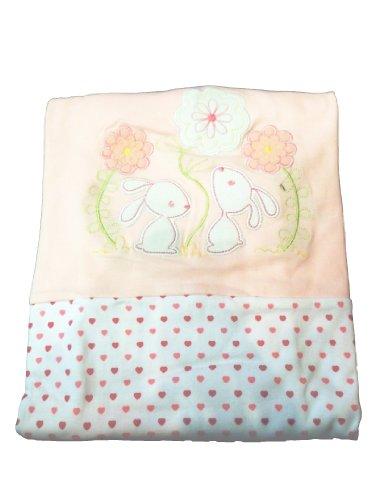 Luxueux Super Doux bébé Landau/couverture de berceau – Rose Lapin et fleurs/cœurs – 100% coton – pour bébé fille