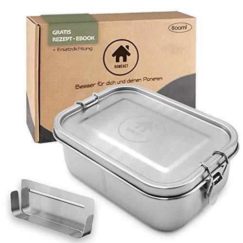 homeAct Edelstahl Eco Lunchbox & Brotdose 800ml   herausnehmbarer Trennsteg   auslaufsicher, nachhaltig und gesund   Jausenbox für Schule, Uni, Arbeit und Camping