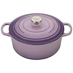 Le Creuset LS2501-26BPSS Signature Enameled Cast-Iron 5-1/2-Quart Round Dutch Oven, Blue Bell Purple