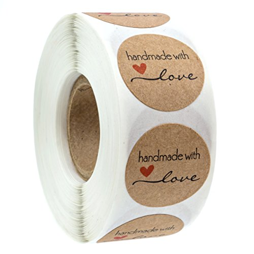 """1"""" Inch Round Natural Kraft Handmade with Love Stickers/500 Labels per roll"""