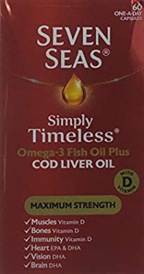 Seven Seas Simply Timeless Omega-3 Fish Oil Plus Cod Liver Oil Maximum Strength, with Vitamin D, 60 One a day Capsules