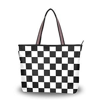 Tote Bag with Checkered Flag Motor Race Print Shoulder Bag Handbag for Travel Shopping Picnic Beach
