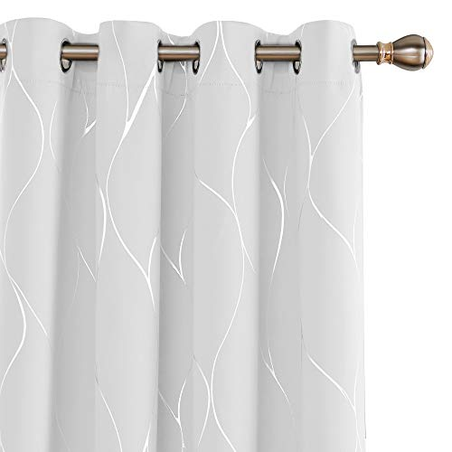 Deconovo Grommet Top Blackout Curtains Foil Wave Printed Grommet Room Darkening Window Panels Thermal Insulated Curtain Drapes for Small Window 52W x 45L Inch 2 Panels Greyish White